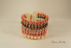 Glass pearls Cuff Bracelet Crocheted by ZegnaJewelry on Etsy