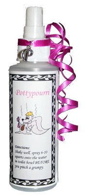 Make your Own Poo-pourri:  Small Spritzer Bottle (found in the toiletries isle of supermarket)   15 drops Lemongrass Essential Oil   15 drops Grapefruit Essential Oil   10 drops Bergamot Essential Oil   8 oz water       Simply shake and spray onto the water in your toilet bowl BEFORE you pinch a grumpy. The oils will disperse over the water creating a vapor barrier, thus preventing the offending odor.