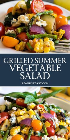 Summer Grilling Recipes 88221 Grilled Summer Vegetable Salad uses herb-infused oils to grill summer vegetables, plus a terrific homemade dressing! This is summertime in a bowl! Summer Grilling Recipes, Barbecue Recipes, Barbecue Sauce, Grilling Ideas, Vegetable Side Dishes, Summer Salads, Summer Salad Recipes, Summer Food, Summer Vegetable Recipes