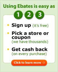 Are you using Ebates when you shop online? You should be! They have been sending me checks for years. http://www.ebates.com/rf.do?referrerid=%2FpcRIzu%2FzQCFywidaM7MAQ%3D%3D