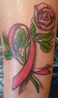 tattoos breast cancer ribbons | cancer ribbon rose by ~hoviemon on deviantART