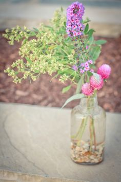 DIY flower centerpieces from a farmer's market. From A handmade, local Maryland wedding with DIY details & a Chesapeake Bay theme. Images by One Summer Day.