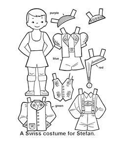 Switzerland paper dolls coloring pages Paper Doll Template, Paper Dolls Printable, Coloring Pages For Kids, Coloring Sheets, Paper Toys, Paper Crafts, Paper Doll Costume, World Thinking Day, Youth Activities
