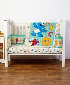 love this sesame beginnings threepiece crib bedding set by sesame street on zulily