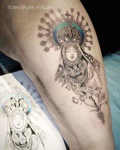 Marie Roura sur Instagram: 1 er tattoo 2021 : La vierge aux Etoiles pour Laetitia. Avec @judicael.epureatelier