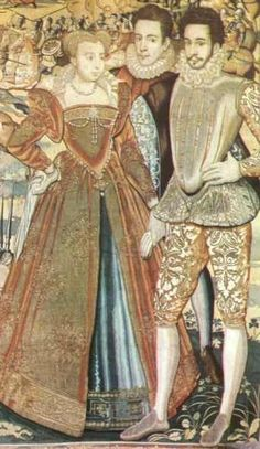 Marguerite de Valois with her brother Hercule Francois (right), the Valois Tapestries (Musée de Offices à Florence)               This portion of a tapestry showing Marguerite de Valois gives an idea of what dress looked like.
