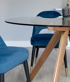 Add a luxury edge to your compact home with the Valencia Brass, Walnut and Glass Dining Table. Pair with the Clover Velvet Dining Chairs for a rich and opulent interior. 4 Seater Dining Table, Glass Dining Table, Dining Set, Dining Chairs, Blue Velvet Chairs, Simple Colors, Jewel Tones, Dining Furniture, Valencia