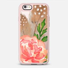 Watercolor Floral and Feathers - protective iPhone 6 phone case in Clear and Clear by Jande Laulu #phonecase #protective #floral #floralprint | @casetify