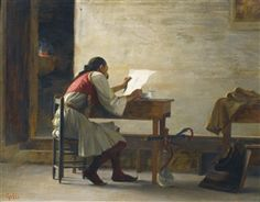 A Good Read Theodoros Ralli (Greek, Oil on panel. Ralli's genre paintings were often nostalgic recollections of the life and customs of his Greek homeland, which he portrayed. Greek Paintings, European Paintings, Classical Period, Woman Reading, Reading Art, Greek Art, Lausanne, Custom Labels, Soft Colors