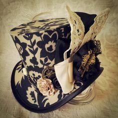 Mad Hatter, Alice in Wonderland, Steampunk Hat, Mini Top Hat, Tea Party, Sherlock, Gothic Hat, Lolita, Cosplay, Women Steampunk Hats, Circus