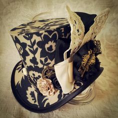 Mad Hatter, Alice in Wonderland, Steampunk Hat, Mini Top Hat, Tea Party, Sherlock, Gothic Hat, Lolita, Cosplay, Women Steampunk Hats, Circus