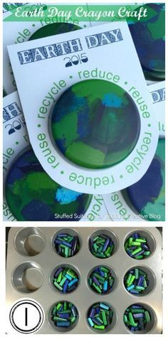 DIY Earth Day Crayon Craft Earth Day Kids Activity and Craft Free Printable Melted Crayon Crafts See more on Earth Day Projects, Earth Day Crafts, Earth Craft, Planet Crafts, Nature Crafts, Earth Day Activities, Craft Activities, Recycling Activities For Kids, Science Crafts