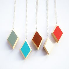 Wooden Geo Diamond Necklace with Colour Pop