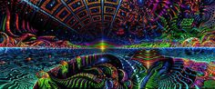 UV Backdrop Terraforming Psychedelic Deco 1m x 2,5m Hippie Goa Cloth Art Image