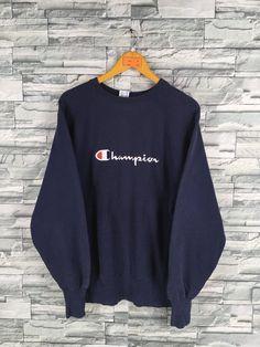 8fd61349ef8b Vintage CHAMPION Reverse Weave Jumper Sweatshirts Large 80 s Champion Spell  Out Usa Sportswear Champion Crewneck Blue Sweaters Size L
