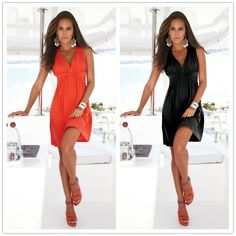 Deep V-neck Cover-Ups Solid Fashion Dress //Price: $25.39 & FREE Shipping //     #WoopWoop