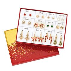 Count down the last few days until Christmas in style! Twelve pairs of novelty earrings in a unique gift box. Goldtone. Pierced.