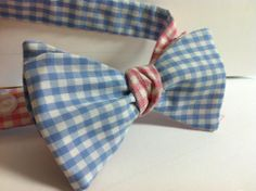 Reversible Blue and Pink Gingham Bow Tie by Phi Ties