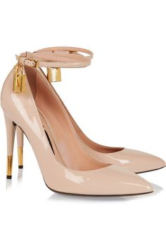 Heel measures approximately 105mm/ 4 inches Cream patent-leather Buckle-fastening ankle strap Designer color: Nude