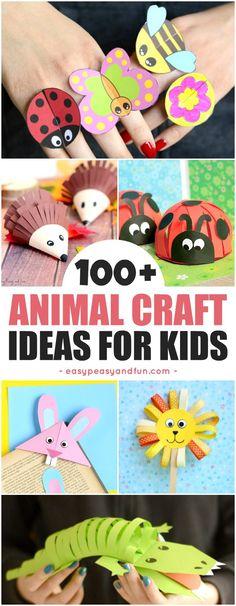 Super Fun Animal Crafts for Kids. Fun crafting ideas from bugs, zoo animals, farm animals, ocean animals and more. Perfect art and crafts for home or classroom Animal Crafts For Kids, Craft Projects For Kids, Toddler Crafts, Animals For Kids, Diy Crafts For Kids, Fun Crafts, Art For Kids, Paper Crafts, Zoo Animals