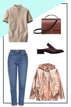 How To Make Your Basics Shine #refinery29  http://www.refinery29.com/how-to-wear-basics#slide-4  The Go-To DenimWhen we said to make your basics shine, we also meant literally. The easiest way to give your basic pair of high-waisted jeans a cool-girl tweak is by adding metallic outerwear. Layer a short-sleeved sweater underneath, which is perfect for transitional weather, and then balance out the edgier pullover with professional-looking accessories, like a brown...
