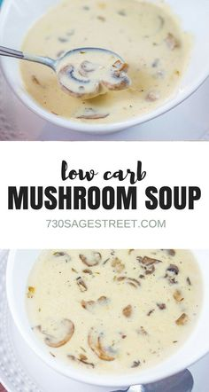 This homemade cream of mushroom soup is easy to make and delicious. It's also low carb so it's perfect for keto and other lower carb diets. #lowcarb #keto #soup #creamofmushroom #recipe #homemade #cream #mushroom #glutenfree #food #cooking #vegetarian #easy #fromscratch