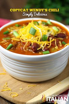Wendy's Chili Copycat from the slowroasteditalian.com #copycat #dinner #recipe