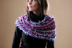 Purple Crochet Shawl Warm Scarf Purple by handmadegiftsbyLaila
