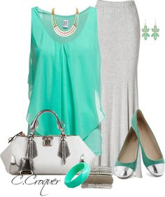 """Chic in Mint & Grey Maxi Skirt"" by ccroquer ❤ liked on Polyvore"
