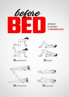 Before Bed Workout! - Before Bed Workout! Loosen out before bed with this hip, leg and glute opener. Are you ready for this fitness workout? Gym Workout Tips, Fitness Workout For Women, At Home Workout Plan, In Bed Workout, Workout Plans, Quick Workout At Home, Female Workout Plan, Simple Workouts, Easy Ab Workout