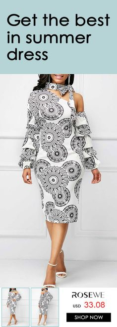 Tie Neck Printed Layered Sleeve Dress, FREE SHIPPING WORLDWIDE, $5 off over $59, check it out.