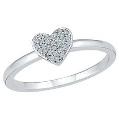 0.080 CT. T.W. Round White Diamond Prong Set Heart Ring in Sterling Silver