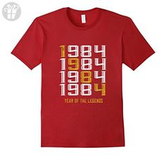 Mens 1984 Year of the Legends 33 yrs old Bday 33rd Birthday Medium Cranberry - Birthday shirts (*Amazon Partner-Link)