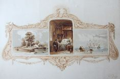 Clarkson Frederick Stanfield ~ Signed triptych watercolor, with a brown wash border +/- 1830 Previously sold by IM (Therefore) de Galan IM (Therefore) fine art & manuscripts Triptych, Watercolor, Fine Art, Brown, Painting, Things To Sell, Home Decor, Pen And Wash, Tri Fold Brochure