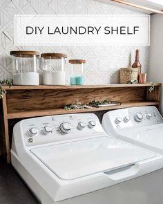 Laundry Room Shelves, Laundry Room Remodel, Small Laundry Rooms, Laundry Room Organization, Laundry Room Design, Laundry In Bathroom, Outside Laundry Room, Unfinished Laundry Room, Laundry Detergent Storage