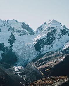 The famous mountain Piz Roseg in Engadin. Visit Switzerland, Swiss Alps, Mount Everest, Nature Photography, Hiking, Explore, Adventure, Mountains, Travel