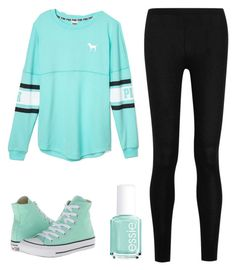"""""""Turquoise"""" by psych-rocks ❤ liked on Polyvore featuring Victoria's Secret PINK, Donna Karan, Essie and Converse"""