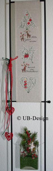 UB-Stickdesign--Alle Jahre wieder Design Shop, Cross Stitch Gallery, Table Runners, Ladder Decor, Needlework, Home Decor, Candy, Ideas, Unique Gifts