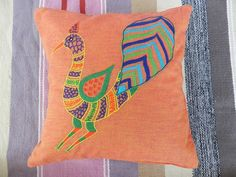"Hand Embroidered cushion cover by rural women of a small NGO ""Aham Bhumika "" based in Bhopal. Mail us ahambhumika@gmail.com"