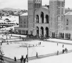 Snow at UCLA - In many morning classes were canceled in favor of snowball fights when two inches of snow dusted the sunny So-Cal campus. It melted by 11 a. Ucla History, Wonderful Places, Beautiful Places, Ucla Campus, Westwood Village, California History, Southern California, Ucla Bruins