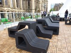 Contemporary street furniture for roof terrace, Centriforce with Manchester School of Art