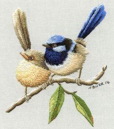 Вышитые птицы. Вышивка гладью