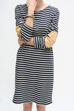 Beklina :: ORGANIC Mini Dress Striped navy and white mini dress, cotton sweater knit, vegetable tanned leather elbow patches, nice and long sleeves, cozy and fresh.