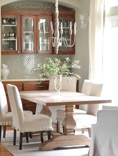 Mariestad Chandelier + Couture Chairs by Ballard Designs  I  via @Centsational Girl