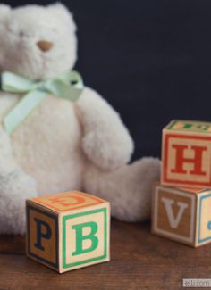 How to make vintage alphabet blocks + free template. Perfect for baby shower favors or nursery decor!