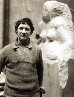 Jacob Epstein, the American-born sculptor who worked chiefly in the UK, where he pioneered modern sculpture - 1907