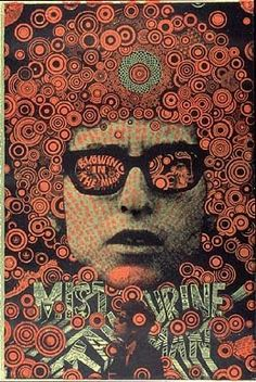 """affiche psychédélique : """"Bob Dylan, Blowing In The Mind"""", Martin Sharp, 1967 Rock Posters, Band Posters, Concert Posters, Psychedelic Rock, Psychedelic Posters, Illustration Photo, Illustrations, Mundo Hippie, Zentangle"""