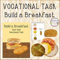 VOCATIONAL TASK Build a Breakfast is a real image food task to help students learn a realistic skill of fast food customer service. Students will use the visual image task cards to build 12 different breakfast sandwiches in the order shown on each of the 12 cards.