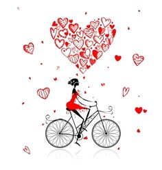 Girl cycling with big red heart for valentine day vector on VectorStock®