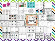 Spider Unit Literacy, Math, and Science Learning Fun!  This unit is 80 pages and includes:  alphabet game, write the room, KWL spiders, sight word roll and write, label the spider, spider facts, roll to 100 game board, patterning, and more!  $
